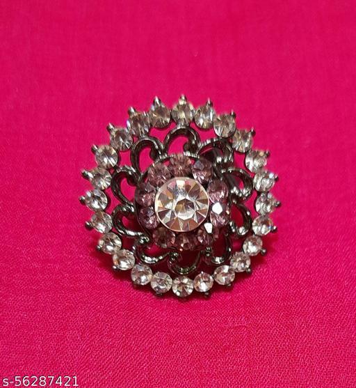 Gaurav Boutique Oversized Ring For Women And Girls (Purple & Black - ST208)