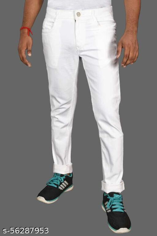 Getstyle4you white jeans for men round pocket