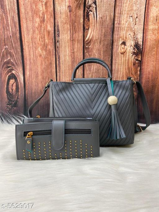 Trendy Women's Grey Faux Leather/Leatherette Slingbag
