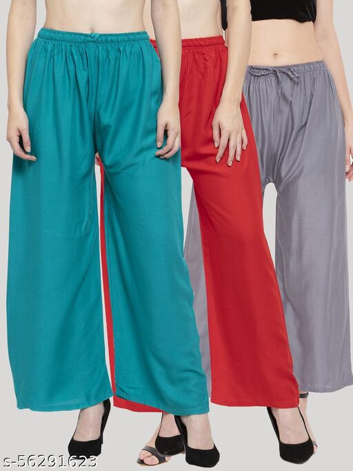 Solid Turquoise, Maroon & Grey Rayon Palazzo (Pack Of 3)
