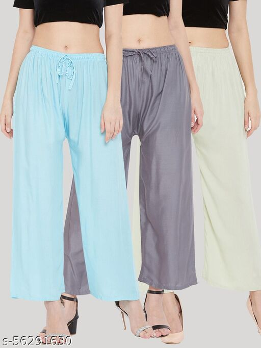 Solid Sky Blue, Grey & Pista Green Rayon Palazzo (Pack Of 3)