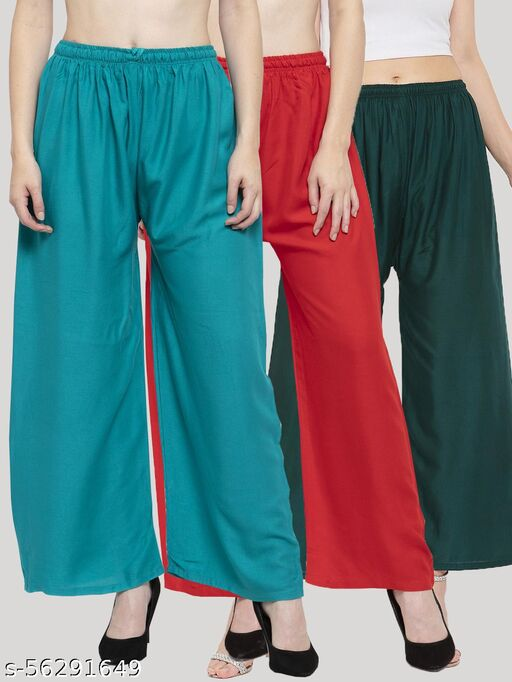 Solid Turquoise, Maroon & Bottle green Rayon Palazzo (Pack Of 3)
