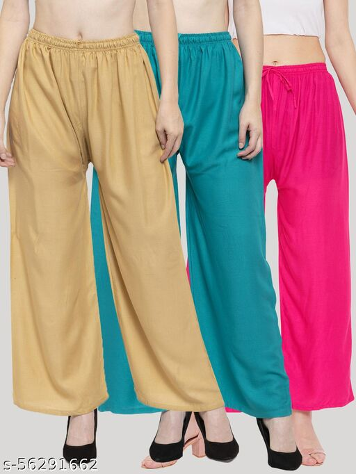 Solid Fawn, Turquoise & Magenta Rayon Palazzo (Pack Of 3)