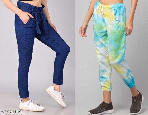 Combo Of Bueno Fancy Tie & Dye Multicolor Jogger With High Waist Jeans