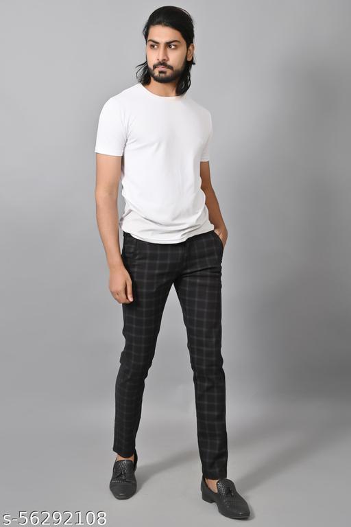 Men's Checker Black Trouser