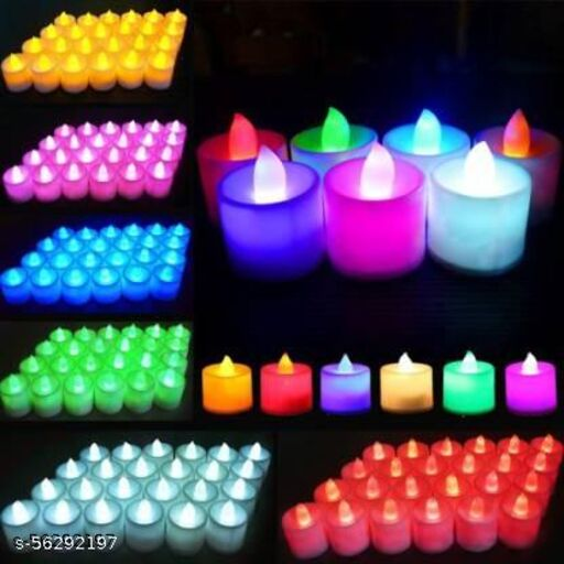 Multi Colour LED Candles, Tea Light Candles for Diwali / Festival Candles Smokeless Battery Operated Set Of 12Pcs. ( Multicolor Pack of 12 )diwali lightings