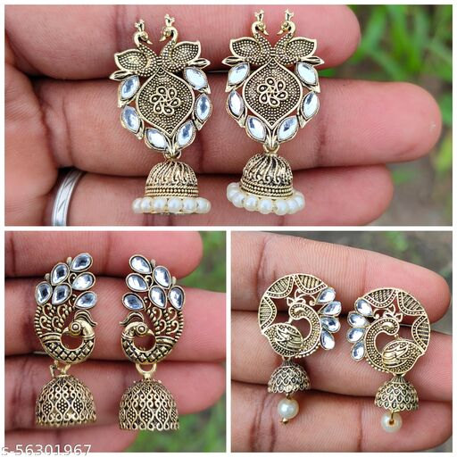 Traditional earing sets of 3 for girls & women (Color-Gold)