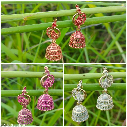 Traditional earing sets of 3 for girls & women (Maroon , Pink , White)