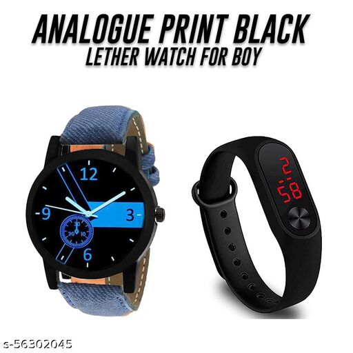 Analogue Blue Dial Sports Watch with M-2 led black watch for Boys