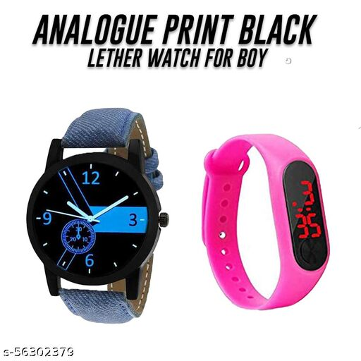 Analogue Blue Dial Sports Watch with Pink M-2 band for Boys