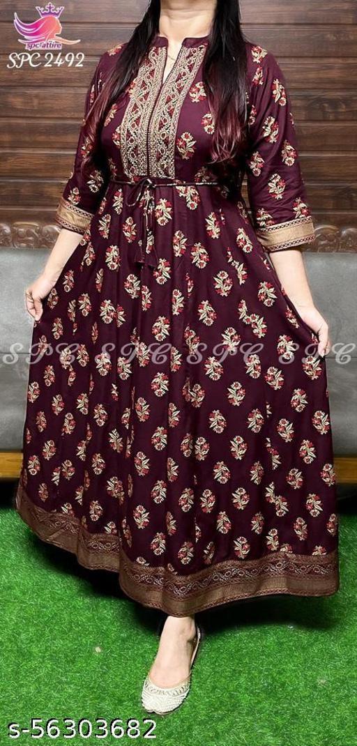 Beautiful, Styliesh and party wear Arnarkali kurti in reyon fabric.