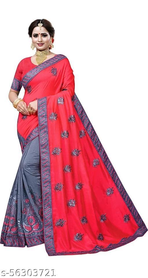Tulsibrand fashion Printed Bollywood Cotton Jute Blend, Lace Saree