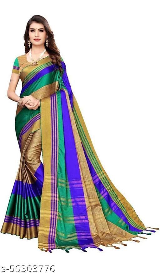 Tulsibrand Fashion Striped Fashion Cotton Blend Saree