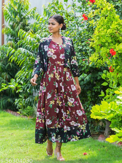 SHRI MADHOPURIYA TEXTILES Floral Printed KUrti  vwith  Attached Floral Printed Jacket for women maroon KUrti and black jacket.