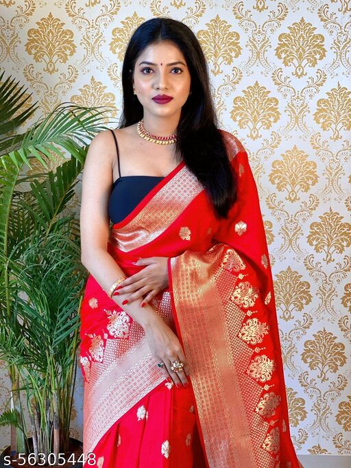 ALL OVER ZARI WEAVING RICH PALLU WITH GOWN SIDE SELF RICH WEAVING ALL OVER SAREE