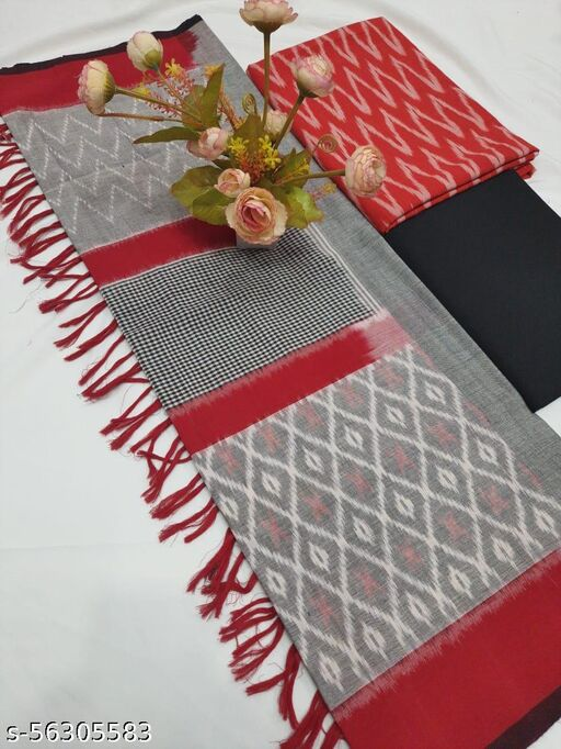 Pochampally Double Ikkath Cotton Dress Material