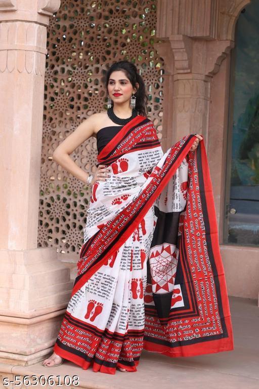 Pooja Arts Jaipuri Hand Printed Cotton Mulmul Saree With Unstitched Blouse