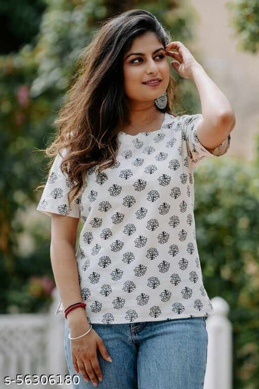 WHITE AND BLACK PRINTED COTTON TOP