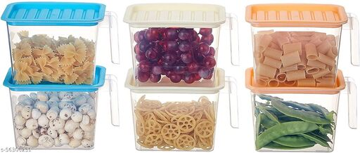 Floraware Set of 6 Airtight Kitchen Fridge Organizer Storage Containers Set Plastic Food Storage Box with Lid and Handle (1100 ML) - 1100 ml, 1600 ml Plastic Grocery Container(Pack of 6, Multicolor)