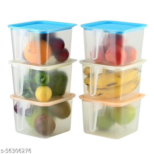 Floraware Fresho Container Square Handle Food Storage Organizer Boxes - 1600 ml Plastic Fridge Container (Clear) - 1600 ml Plastic Fridge Container(Pack of 6, Multicolor)