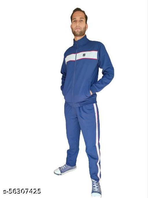 Track suit Navy Blue Cotton Fleece Blend Regular Fit Extra Warm