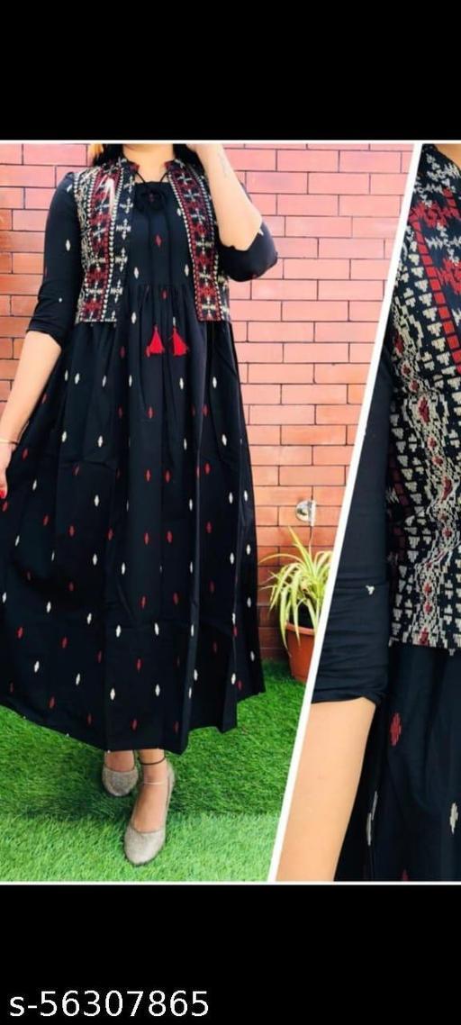 trendy women Black kurti with Jacket