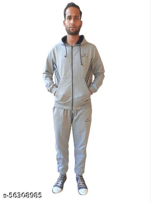 Track Suit Light Grey Cotton fleece Blend Top Comfort  Super Warm