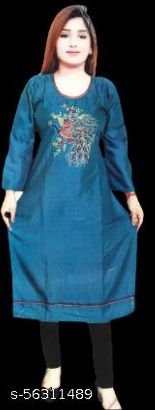 Women's Desi Closet Gorgeous Embroidered A-line Kurti Crepe Kurtis