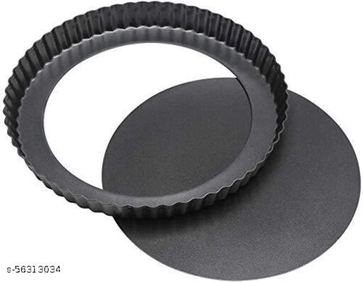 FOOD FUNN New Pizza Pan Bakeware Pie Dish Tart Pan With Removable Bottom,Carbon Steel,20 cm,Black