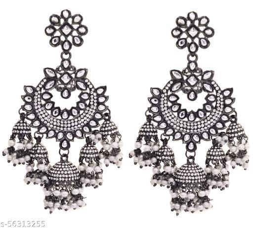 Total Fashion Girls/Women's Oxidized Silver Base Metal Cubic Zirconic Jhumka Earrings Jewellery (Black)