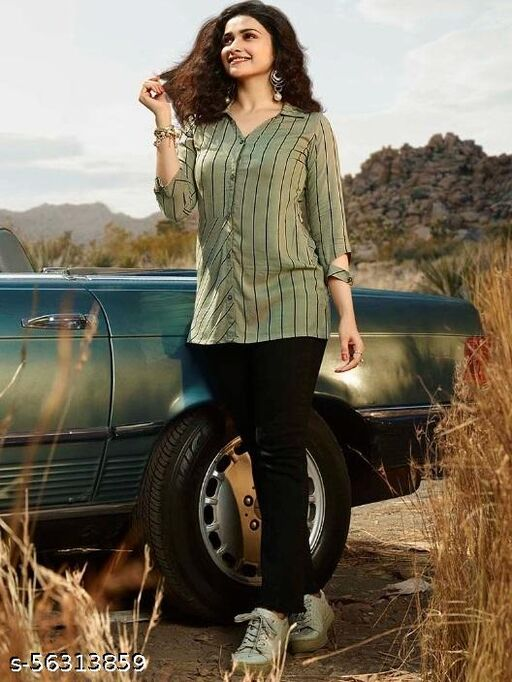 Iconic women olive green and black striped Shirts.