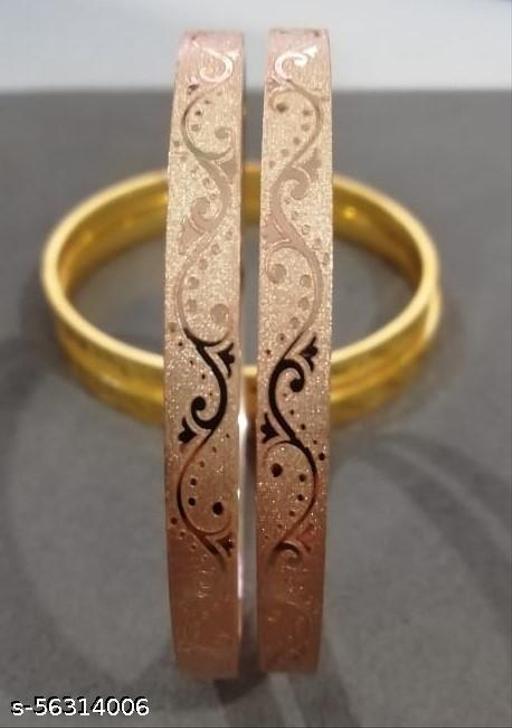 Laser printed stylish antique rose gold plated bangle set of 2