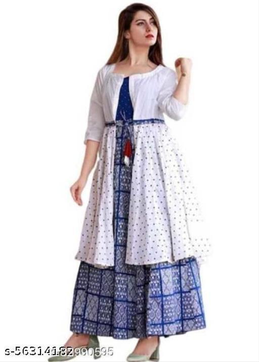 Women Rayon Printed Blue Long Kurti With Jacket