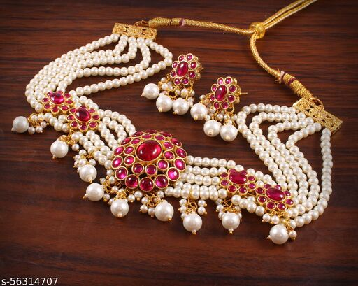 IREYAJEWELLS Women Ruby Flower Design Choker Gold Plated Necklace And Earring Set