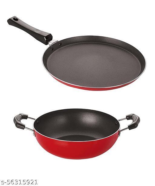Nirlon Non-Stick Aluminium Heat Resistance Kitchenware pot & pans Combo Set with Bakelite Handle
