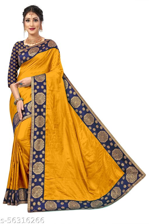 Women's Paper Silk Saree With Jacquard Lace And Blouse Piece-07
