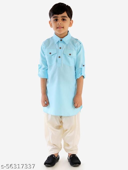 JBN Creation Boys' Blue Cotton Blend Pathani Kurta Set
