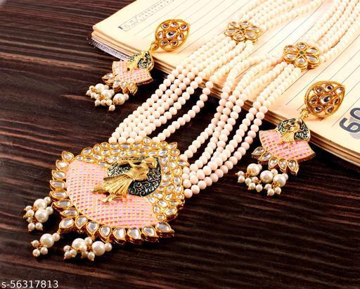 IREYAJEWELLS Women Pink Meenakari Multistrand Pearls Gold Plated Necklace And Earring Set Jewellery set