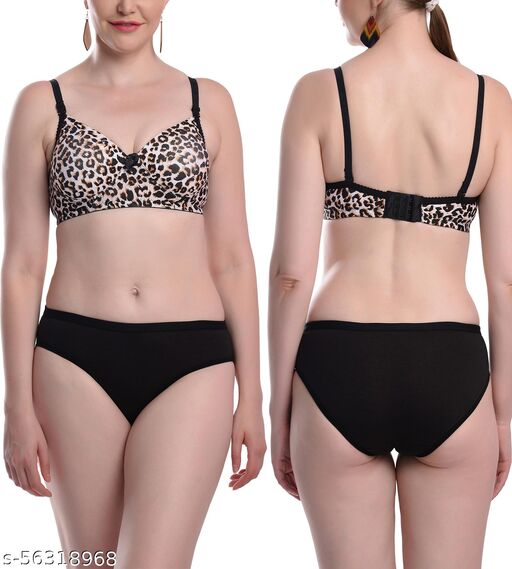 FIMS - Fashion is my style Women Padded Set Cotton 4 - Way Lycra Stretchable Tiger Print Non Wired Full Coverage, Push up, Teenage, Regular, Comfortable, Pack of 1 Black, Cup- B Lingerie Sets
