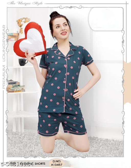 Santu Premium Women Hosiery Night Suit Set Shirt and Shorts Set