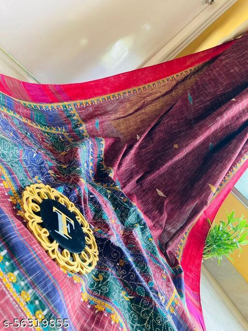 kantha stitch bengal handloom organic cotton saree by titorious fashion