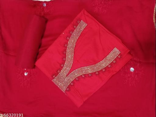 Cotton Red suit with Designer Dupatta