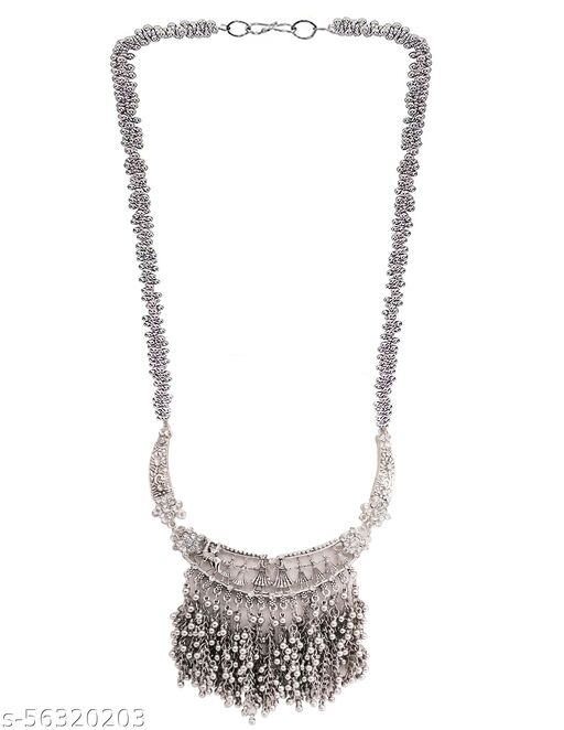 Total Fashion Oxidised Silver Jewellery Chain Necklace for Women & Girls