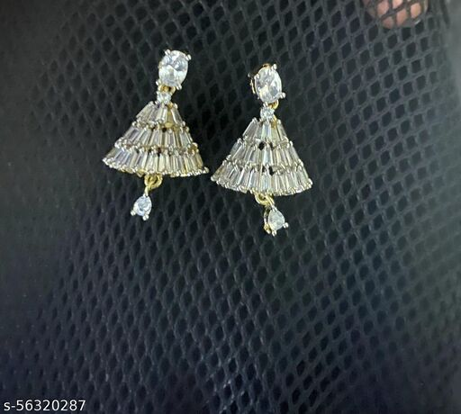Silver Plated Stone Studded Drop Earing