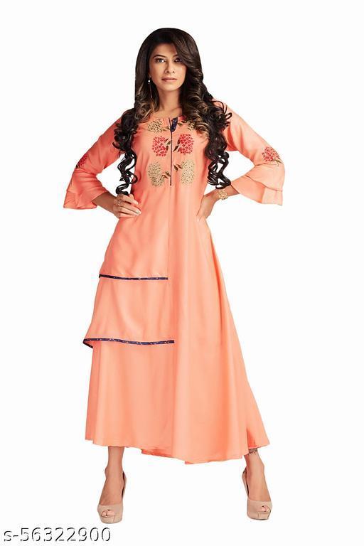 Covet Women's Rayon Embroidered Pink kurti