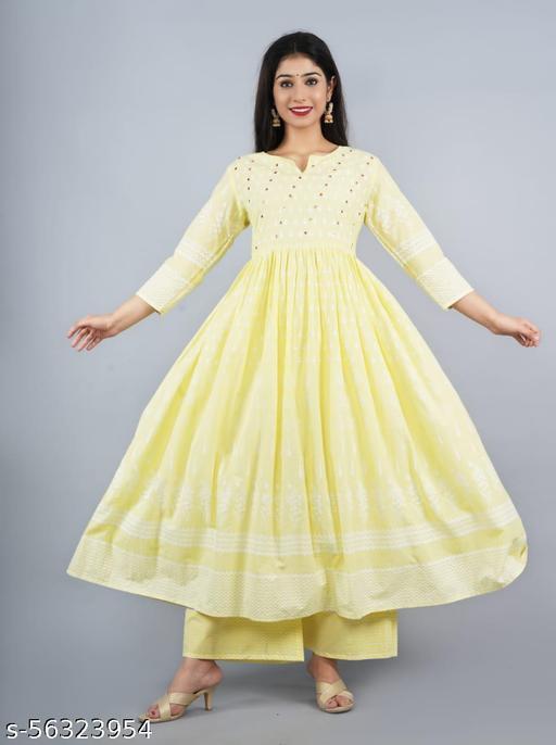 Women Rayon Yellow Kurti palazzo