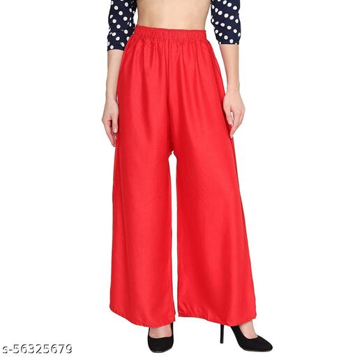 Women's New Trendy beautiful Relaxed loose Fit Flared Wide Leg Attractive Gorgeous solid stylish fancy morden  Palazzo pants