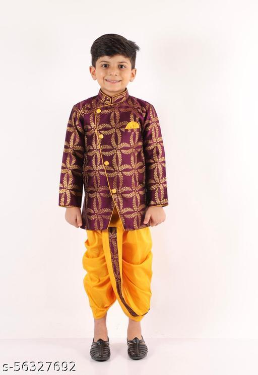 KID1 Full Sleeves Jacquard Sherwani & Dhoti Set - Purple & Yellow