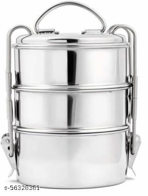 Stainless Steel Air Tight, Leakproof Tiffin Storage Container with Lid and Classic Lock Lunch Box for Office, College, School 3 Containers Lunch Box  (1500 ml)