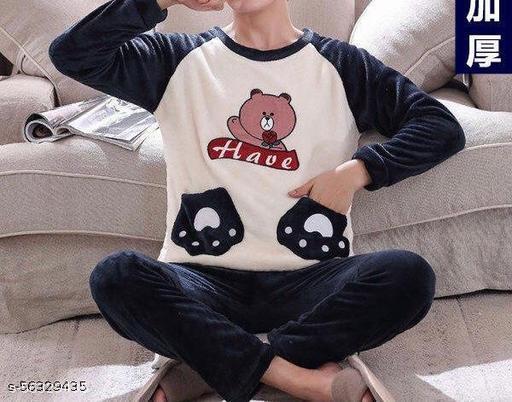COMO MEJOR D Hello Bear Print Soft Fabric Velvet Nightsuits for Women